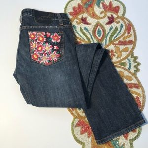 Ed Hardy Embroidered Jeans Flowers Skull size 27